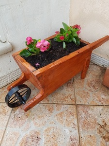 Wooden wheelbarrow with flower