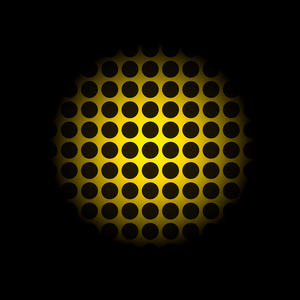 Yellow light on black dots