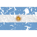 Argentine flag with peeled parts