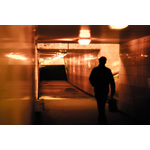 Man in subway passage