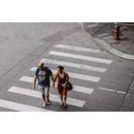 Couple crossing the street