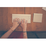 Female hands typing on keyboard
