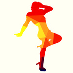 Girl posing red silhouette