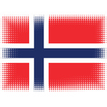 Norwegian flag with halftone pattern