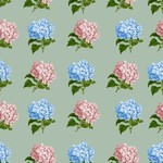 Hydrangea flowers in vintage pattern