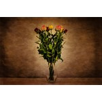 Flowers in vase on dark background