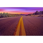 Purple Road Descending Into Sunset