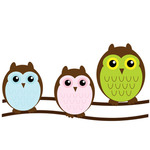 Cute owl family illustration