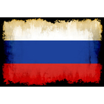 Russian flag with black frame