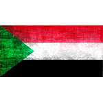 Sudan flag in grunge pattern
