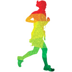 Colored silhouette of a runner